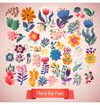 Flowers decorative set of doodle plants vector image vector image