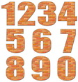 font build out of red bricks vector image vector image