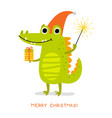 funny crocodile with a gift christmas card vector image vector image