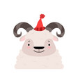 funny sheep in a red knitted hat cute cartoon vector image vector image