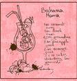 Hand drawn Bahama Mama cocktail vector image vector image