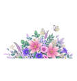 hand drawn beautiful flowers and butterflies vector image vector image