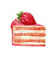 Hand drawn slice of cake watercolor style vector image vector image