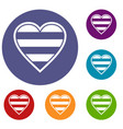 heart lgbt icons set vector image vector image