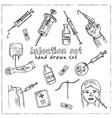 injection hand drawn doodle set isolated elements vector image
