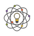light bulb and atom around in color crayon vector image vector image