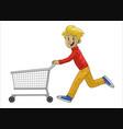 man running while pushing his shopping cart vector image
