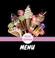 menu for ice cream cafe vector image