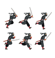 ninja running game sprite vector image vector image