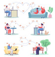 online dating concept flat set vector image vector image