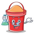 professor bucket character cartoon style vector image vector image