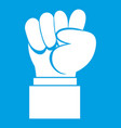 raised up clenched male fist icon white vector image vector image