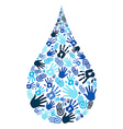Save water diversity hand shape vector image