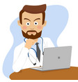 serious doctor sitting at the table with laptop vector image