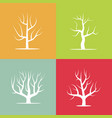 set of four silhouettes of trees vector image vector image