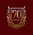 seventieth anniversary vintage logo symbol golden vector image