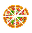 sliced whole hot pizza vector image vector image
