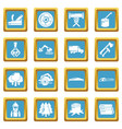 timber industry icons set sapphirine square vector image vector image