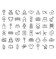toy baby items icon set outline style vector image