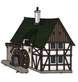 vintage half timbered water mill vector image vector image