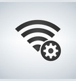 wifi connection signal icon with gear or settings vector image vector image