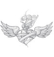 a sketch of a tattoo heart with wings and flowers vector image vector image