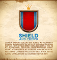 Aged card with shield label with crown vector image vector image