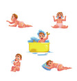 baby kid infant daily routine - eat sleep bath vector image vector image
