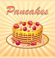 background of pancakes with honey and cherry vector image