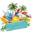 blue plank with beach concept vector image vector image