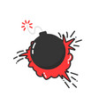 bomb with cartoon explosion icon vector image vector image