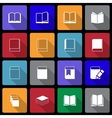Book Icon set wiht Long Shadow vector image