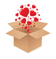 box with hearts vector image vector image
