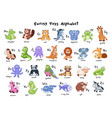 cartoon animals alphabet vector image vector image