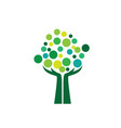 coin tree and hands logo vector image