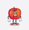 crab apple cartoon mascot character with angry vector image vector image