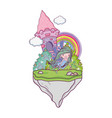 cute little fairy with castle in the landscape vector image