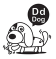 D Dog cartoon and alphabet for children to vector image