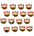 devil emoticon icon with many expressions vector image vector image