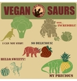 dinosaurs with vegetables set vector image