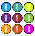 DNA icon sign Nine multi colored round buttons vector image vector image