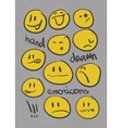 emoticons set hand drawn eps8 vector image