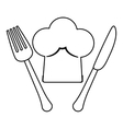 Figure fork and knife with chef hat vector image
