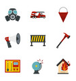 fire emergency icons set flat style vector image vector image