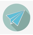 Flat style icon with long shadow paper plane vector image vector image