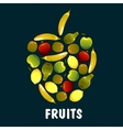 fruits flat icons in shape apple vector image