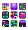 funny bright colorful square app icons set vector image vector image