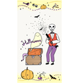 halloween greeting card with skeleton vector image vector image