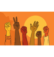 Hands rising in political protest vector image