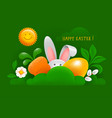 happy easter greeting card with easter bunny egg vector image vector image
